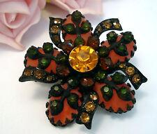Vintage Costume Jewelry SELINI Japanned Glass Rhinesone Brooch Pin Orange