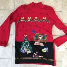 Ugly Christmas Sweater Dress Santa Tree Stars NOEL Doll Train New With Tags! S