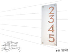 Modern House Numbers, Alucobond with Natural Wood - Vertical 2 - Contemporary Ho