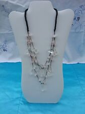 Rose Quartz Crystal Bead Bib Gem Chunky Rope Necklace Cascade Pendant NEW 22""