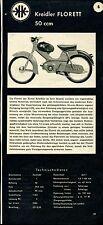 Kreidler Fleuret 50 ccm -- avec les données techniques -- Coupure de 1958