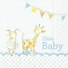 4 Single paper decoupage napkins. New baby boy, baby animals, cute design-569