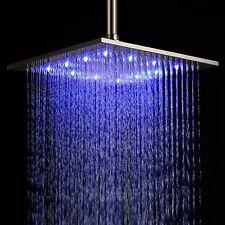"12"" LED Light Square Rain Shower Head Stainless Steel Bathroom Color Change US"