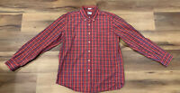 Men's J CREW 100% Cotton Plaid Blue Burnt Orange Men's Button Up Shirt