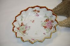 Asian Bowl Red Yellow Rim Peonies Floral Swirled Fluted Scalloped Rim