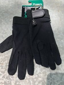 Perri's -  Cotton Grip Riding Gloves - Size Medium Adult - Black Color