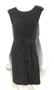 DIANA FERRARI black stretch lined gathered Occasion Dress ~ sz 10-12
