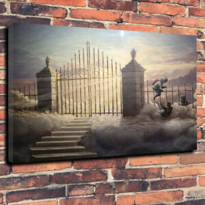 Banksy Pearly Gates, Ghetto Heaven Printed Canvas Picture Wall Art Home Decor