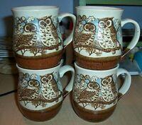 Vintage 4 Otagiri Stoneware Coffee Mugs Owls in Oak Tree Really Cute