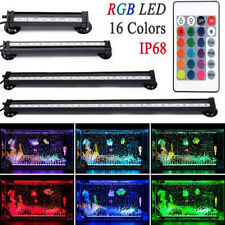 19-112cm Aquarium Submersible Air Bubble LED Fish Tank Light Bar Lamp Underwater