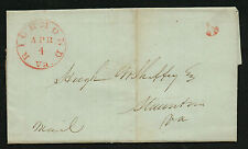 Richmond VA April 4, 1846 CDS Cancel on Stampless Cover Red H/S '5'
