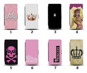 Princess Flip Wallet Case Princesses Crown Tiara Girls Royal Girl Pink 8229b
