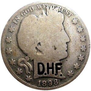 1898 Barber Half Dollar Counterstamp D.H.F.