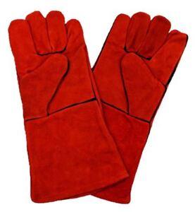 Protective Stove Gloves Woodburner Log Fire Welder Gauntlet Long Lined Glove