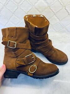 Lucky Brand Brown Suede Leather Combat Boots Gold Buckles Women's 8 GUC