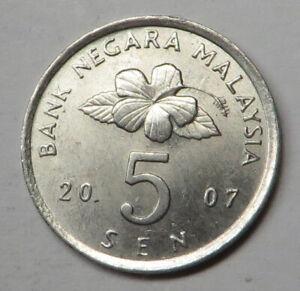 Malaysia 5 Sen 2007 Copper-Nickel KM#50 UNC