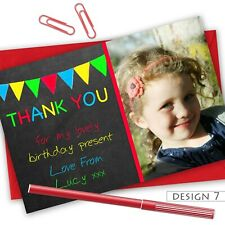 Personalised Birthday Girl Boy Thank You Cards Note Cards Coloured Envelopes