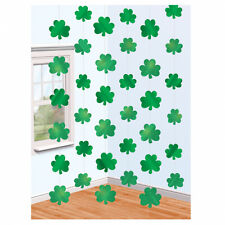St Patricks Day Shamrock Party Decorations - 7ft Hanging Shamrock Strings x 6