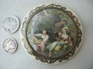 Antique Victorian Celluloid Couple & Two Women Pastoral Scene Compact FRANCE