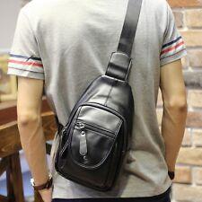 Men PU Leather Travel Hiking Cross  Messenger Shoulder Sling Back Pack Chest Bag