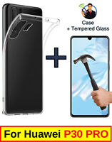 SLIM CLEAR COVER SOFT TPU GEL CASE + TEMPERED GLASS PROTECTOR FOR HUAWEI P30 PRO