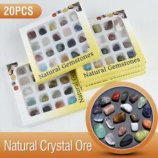 20Pcs Mixed Natural Crystal Gemstones Polished Healing Chakra Stones Display Set