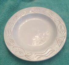 "9.5"" Round White With Fishes Decorative Plate Bowl"