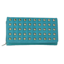 TURQUOISE STUDDED LEATHERETTE CHECKBOOK TRIFOLD WALLET WESTERN BLING FASHION