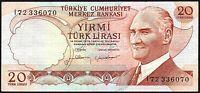 1974 TURKEY 20 LIRA BANKNOTE * I72 336070 * aVF * P-187b *