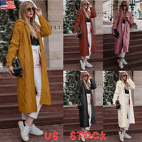 Womens Chunky Knitted Hooded Sweater Open Front Long Cardigan Coat Jacket Tops