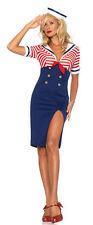 Ladies Sexy Sea Sailor Naval Pilot Air Hostess Uniform Fancy Dress Costume