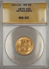 1875 Netherlands 10G Gulden Gold Coin ANACS MS-65 Gem SB