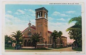 Vintage McAllen Texas TX First Methodist Church Postcard 1930 Old Cars