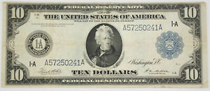 1914 $10 Dollar Federal Reserve Bank of Boston Large Size Note FR-907b VF