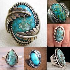 Tibetan 925 Silver filled Turquoise Gemstone Ring Men Women Wedding Jewelry