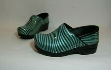 Dansko Women's Green Striped Patent Leather Slip On Clogs Size EUR 36 US 5.5