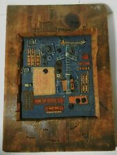 One of a Kind Wood Framed Levi Strauss Mixed Media Leather Levi's Original Art