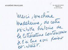 Jean D'ORMESSON - Carte autographe signée - Les entretiens de l'Express.