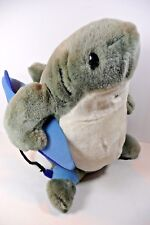 Hawaii Crazy Shirts Sharka Surf Co. Plush Shark with Surf Board & Leash Grey Blu