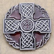Western Silver Enamel Irish Norse Cross Celtic Trinity Knot Cowboy Belt Buckle