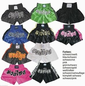 BAY Thaibox Hose Muay Thai Shorts Kickboxhose Kinder Kids XS XXS S Damen Junior