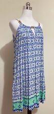 Blue Soul Size S Small Mini Dress A-Line Print Pockets Sleeveless Boho Beach