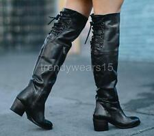FAST SHIP! NWB $395 FREEBIRD BY STEVEN ROLLS OVER THE KNEE TALL BOOTS BLACK US 9