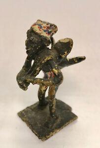 Antik Statuette Afrikanisch Bronze Polychrome