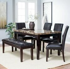 Kitchen Dining Set 6 Piece Modern Bench Table Chairs Leather Wood Breakfast Nook