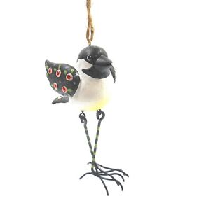 Ganz Black, White and Red Rhinestone Bird Ornament with Wire Legs 4.75 in