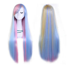 Harajuku Mixed Color Long Straight Hair Wig Heat Resistant Cosplay Full wigs