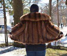 Barguzin Russian Golden Sable Genuine Fur Jacket Bolero Coat Size 6-8 Medium