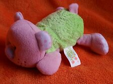 """Popit Popit Green Pink Teddy Bear Soft Toy Comforter ~ laying down 6"""""""