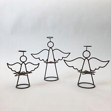 Rustic Graduated Wire Angel Candle Holder Trio Farmhouse Mantle Decor Primitive
